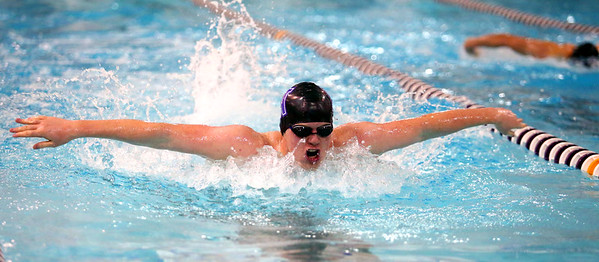 1-26-16 NWHS vs WHS swim meet<br /> Northwestern's Jakob White in the 100 Y Butterfly<br /> Kelly Lafferty Gerber | Kokomo Tribune