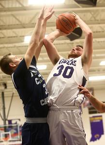 1-3-17 Northwestern vs Central Catholic boys basketball NW's Trey Richmond shoots. Kelly Lafferty Gerber | Kokomo Tribune