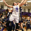 1-11-17<br /> Northwestern vs Oak Hill girls basketball<br /> NW's Kendall Bostic goes up for a rebound.<br /> Kelly Lafferty Gerber | Kokomo Tribune