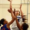 1-17-17<br /> Tipton vs Kokomo girls basketball<br /> Tipton's Cassidy Crawford shoots over Kokomo's defense.<br /> Kelly Lafferty Gerber | Kokomo Tribune