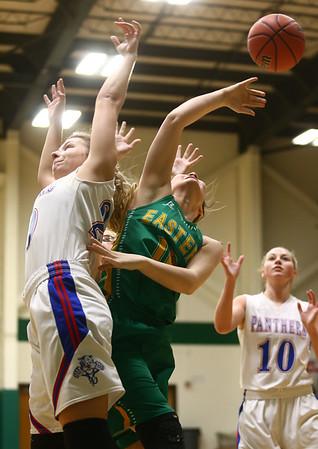 1-31-17<br /> Eastern vs Elwood girls basketball<br /> Eastern's Allison Hanner goes up for a rebound.<br /> Kelly Lafferty Gerber | Kokomo Tribune