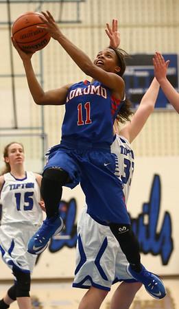 1-17-17<br /> Tipton vs Kokomo girls basketball<br /> Kokomo's Tionna Brown jumps for a shot.<br /> Kelly Lafferty Gerber   Kokomo Tribune