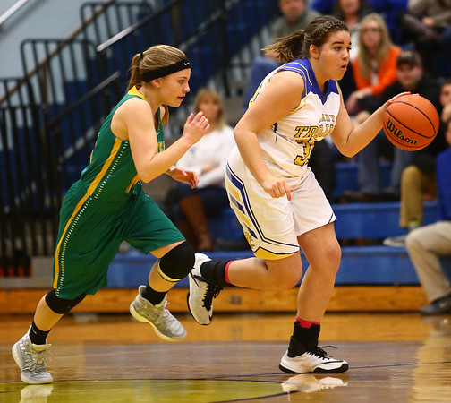 1-19-17<br /> Tri Central vs Eastern girls basketball<br /> TC's Jaide Cassity dribbles down the court.<br /> Kelly Lafferty Gerber | Kokomo Tribune