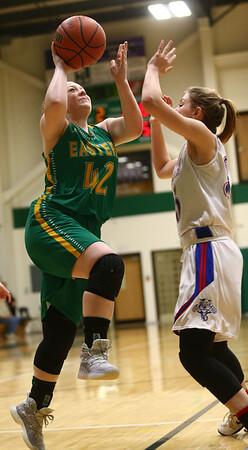 1-31-17<br /> Eastern vs Elwood girls basketball<br /> Eastern's Maci Weeks goes up to the basket.<br /> Kelly Lafferty Gerber   Kokomo Tribune