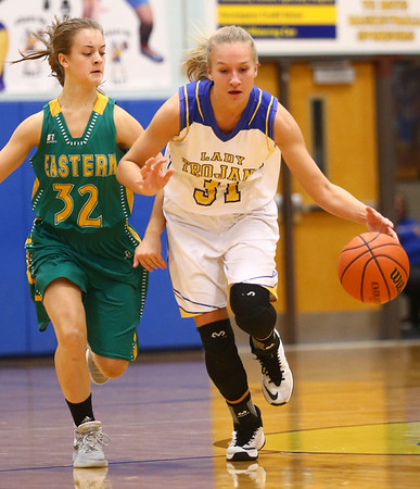 1-19-17<br /> Tri Central vs Eastern girls basketball<br /> TC's Emily Richard dribbles down the court.<br /> Kelly Lafferty Gerber | Kokomo Tribune