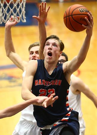 1-13-17<br /> Kokomo vs Harrison boys basketball<br /> Harrison's Jakub Hall goes for the basket.<br /> Kelly Lafferty Gerber | Kokomo Tribune