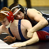 Western's Peyton Lechner works to pin his opponent in the 106 semifinals.<br /> Kelly Lafferty Gerber | Kokomo Tribune