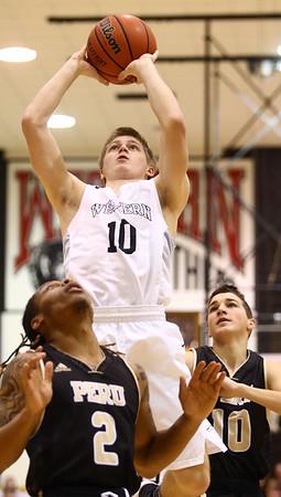 1-27-17<br /> Western vs Peru boys basketball<br /> Western's Josh Beeler shoots.<br /> Kelly Lafferty Gerber   Kokomo Tribune