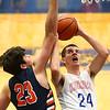1-13-17<br /> Kokomo vs Harrison boys basketball<br /> Kokomo's Ty Sparling looks to the basket for a shot.<br /> Kelly Lafferty Gerber | Kokomo Tribune