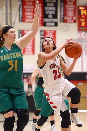 1-7-17<br /> Eastern vs Taylor girls basketball<br /> Taylor's Brooklynn Campbell puts up a shot.<br /> Kelly Lafferty Gerber | Kokomo Tribune