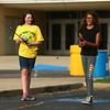 11-year-olds Karlee Janner, left, and Keira Andrysiak practice their casting during the Kids Fishing Clinic on Thursday, July 20, 2017.<br /> Kelly Lafferty Gerber | Kokomo Tribune