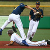 6-13-17<br /> Jackrabbits vs Aviators<br /> Romero Harris slides safely to second.<br /> Kelly Lafferty Gerber | Kokomo Tribune