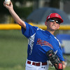 6-21-17<br /> Hollingsworth vs UAW Caps<br /> Nathan Gremelspacher throws to first for an out.<br /> Kelly Lafferty Gerber | Kokomo Tribune