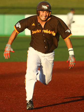 6-6-17<br /> Jackrabbits vs Aviators<br /> Alex Del Rio runs from second to third base.<br /> Kelly Lafferty Gerber | Kokomo Tribune