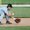 6-21-17<br /> Post 6 baseball<br /> Wynn Takacs scoops up the ball.<br /> Kelly Lafferty Gerber | Kokomo Tribune