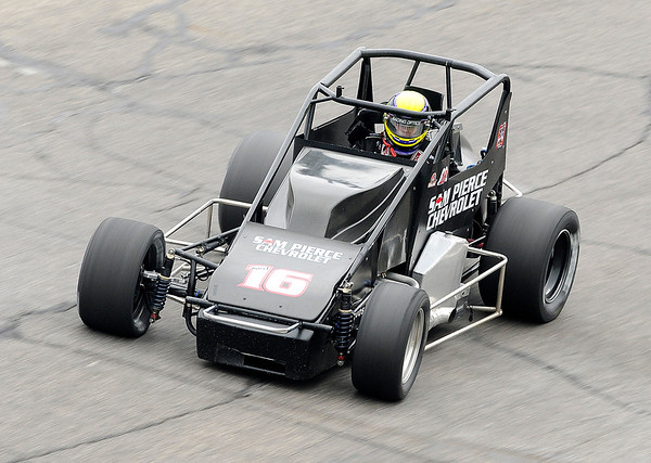 Don Knight | The Herald Bulletin<br /> Austin Nemire qualifies sixth for the Little 500 on Thursday, his 18th birthday.