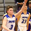 3-11-17<br /> Tipton vs New Haven boys basketball regional semifinal<br /> Grant Shively celebrates after the win over New Haven.<br /> Kelly Lafferty Gerber | Kokomo Tribune