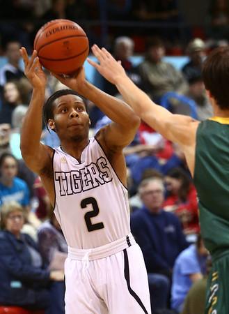 2-28-17<br /> Peru vs Benton Central boys basketball<br /> Peru's Jeremiah Johnson shoots.<br /> Kelly Lafferty Gerber | Kokomo Tribune