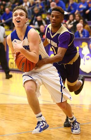 3-11-17<br /> Tipton vs New Haven boys basketball regional semifinal<br /> Tipton's Carson Dolezal looks to the basket.<br /> Kelly Lafferty Gerber | Kokomo Tribune