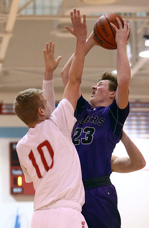 2-28-17<br /> Northwestern vs West Lafayette boys basketball<br /> NW's Peyton Hawk shoots.<br /> Kelly Lafferty Gerber | Kokomo Tribune