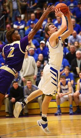 3-11-17<br /> Tipton vs New Haven boys basketball regional semifinal<br /> Tipton's Tyler Slack shoots.<br /> Kelly Lafferty Gerber   Kokomo Tribune