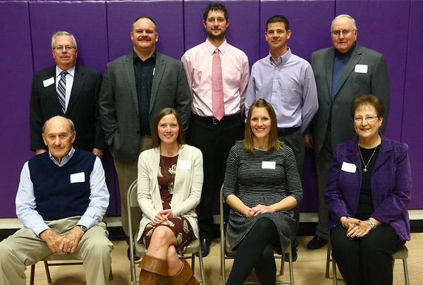 Northwestern inducted its 2017 Hall of Fame class in a ceremony at the high school Friday night. Consisting of categories including athletes, coaches and athletic contributors, this year's inductees are, top row from left: Stan Rybolt, Rick Cardwell, DeWayne Ewing, Scott Robinson, Dayton Merrell. Bottom row from left: Bill Keaffaber, Mary Klein Tuck, Katy Hinkle Yohn, Marsha Miller.<br /> Kelly Lafferty Gerber | Kokomo Tribune