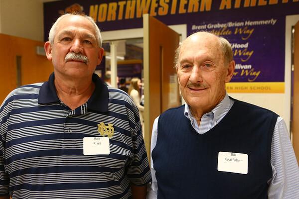Bob Kiser, left, and Bill Keaffaber at the Northwestern High School Hall of Fame induction ceremony on March 10, 2017.<br /> Kelly Lafferty Gerber | Kokomo Tribune