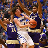 3-11-17<br /> Tipton vs New Haven boys basketball regional semifinal<br /> Tipton's Lukas Swan looks for a shot over New Haven's defense.<br /> Kelly Lafferty Gerber | Kokomo Tribune