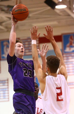 2-28-17<br /> Northwestern vs West Lafayette boys basketball<br /> NW's Peyton Hawk shoots.<br /> Kelly Lafferty Gerber | Kokomo Tribune