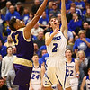 3-11-17<br /> Tipton vs New Haven boys basketball regional semifinal<br /> Tipton's Alec Weddell shoots and makes the shot right at the end of the third quarter.<br /> Kelly Lafferty Gerber | Kokomo Tribune