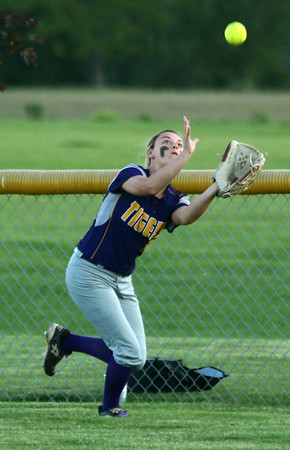 5-30-17<br /> Northwestern vs South Bend Saint Joseph<br /> Madison Walker makes the catch for an out.<br /> Kelly Lafferty Gerber | Kokomo Tribune