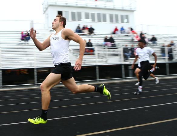 5-3-17<br /> WHS vs NWHS track<br /> Western's Nick Hackler in the 400 dash.<br /> Kelly Lafferty Gerber | Kokomo Tribune