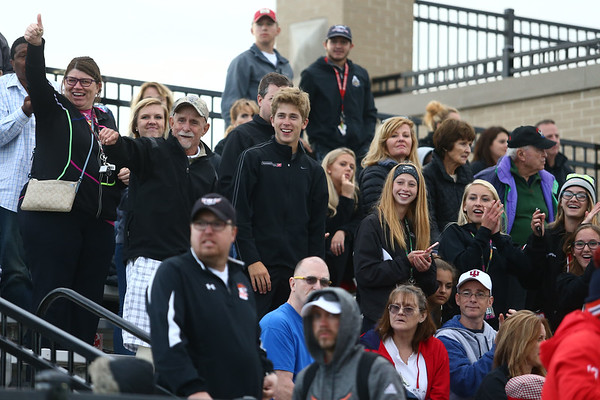 5-25-17<br /> Boys track and field regional<br /> Josh Everetts' cheering section in the stands.<br /> Kelly Lafferty Gerber | Kokomo Tribune