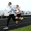 5-3-17<br /> WHS vs NWHS track<br /> Western's Josh Everetts and Andrew Granfield in the 1600.<br /> Kelly Lafferty Gerber | Kokomo Tribune