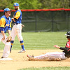 5-6-17<br /> Taylor vs TC baseball<br /> Cole Braun slides safely to second.<br /> Kelly Lafferty Gerber | Kokomo Tribune