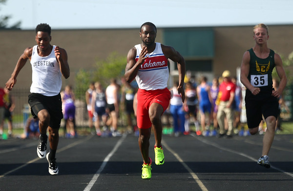 5-18-17<br /> Boys track and field<br /> Kokomo's Andrecus Eddington in the 100 m dash trials.<br /> Kelly Lafferty Gerber | Kokomo Tribune
