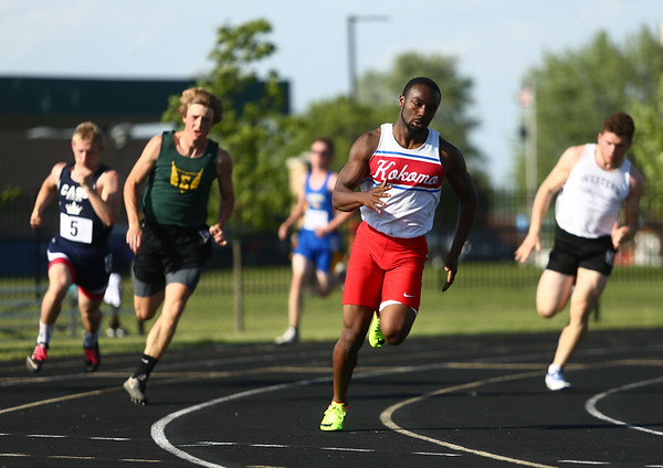 5-18-17<br /> Boys track and field<br /> Kokomo's Andrecus Eddington in the 200 m dash trials.<br /> Kelly Lafferty Gerber | Kokomo Tribune