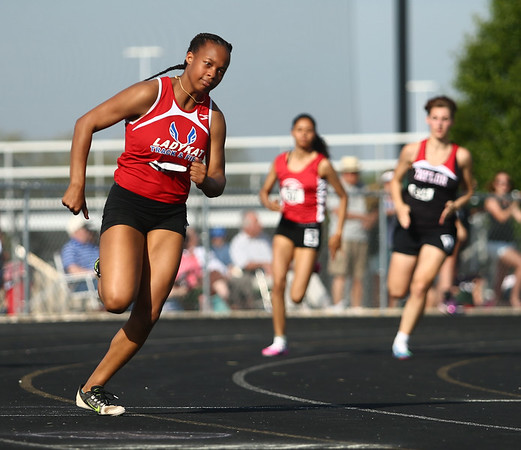 5-16-17<br /> Girls track sectional<br /> Tionna Brown in the 200 meter dash.<br /> Kelly Lafferty Gerber | Kokomo Tribune