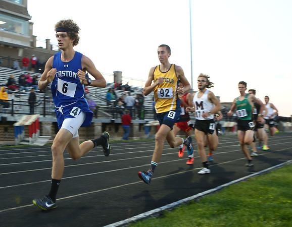 5-25-17<br /> Boys track and field regional<br /> Caston's Mitchell Rans in the 3200.<br /> Kelly Lafferty Gerber | Kokomo Tribune