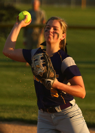 5-30-17<br /> Northwestern vs South Bend Saint Joseph<br /> Bailey Thatcher throws to first for an out.<br /> Kelly Lafferty Gerber | Kokomo Tribune