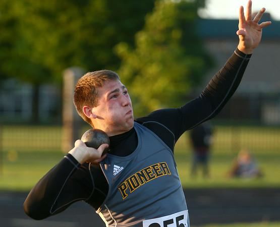 5-25-17<br /> Boys track and field regional<br /> Pioneer's Jack Kiser in the shot put.<br /> Kelly Lafferty Gerber | Kokomo Tribune
