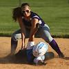 5-30-17<br /> Northwestern vs South Bend Saint Joseph<br /> Sophia Beachy gets Hannah Goerke out at second.<br /> Kelly Lafferty Gerber | Kokomo Tribune