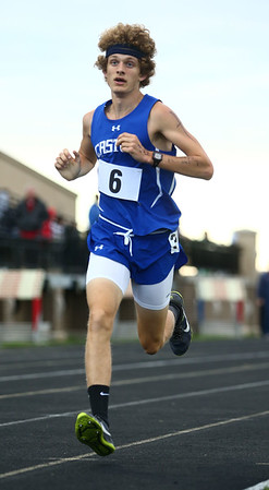 5-25-17<br /> Boys track and field regional<br /> Caston's Mitchell Rans in the 1600.<br /> Kelly Lafferty Gerber | Kokomo Tribune
