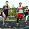 5-11-17<br /> Kokomo track and field<br /> Julian Wallace in the 400 dash.<br /> Kelly Lafferty Gerber | Kokomo Tribune