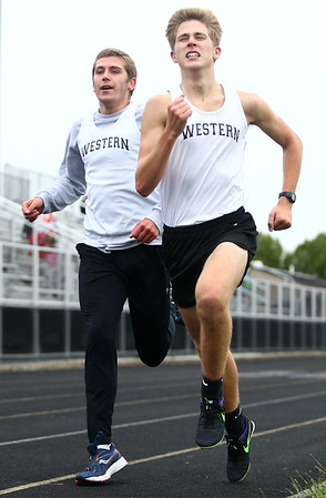 5-3-17<br /> WHS vs NWHS track<br /> Western's Andrew Granfield and Josh Everetts in the 1600.<br /> Kelly Lafferty Gerber   Kokomo Tribune