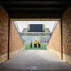 CHAD WEAVER | THE GOSHEN NEWS<br /> The new jumbotron in the South end of Notre Dame Stadium is seen through the North tunnel, which is now lined with brick Saturday prior to the start of the Blue-Gold game.