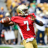 CHAD WEAVER | THE GOSHEN NEWS<br /> Notre Dame junior quarterback Brandon Wimbush looks to pass during the first half of Saturday's Blue-Gold Game at Notre Dame Stadium.