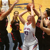 11-8-17<br /> Kokomo vs Taylor girls basketball<br /> Surrounded by Taylor defense, Madison Wood looks to the basket for a shot.<br /> Kelly Lafferty Gerber | Kokomo Tribune