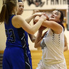 11-7-17<br /> Western vs Northfield girls basketball<br /> Caylan Fields tries to hold onto a rebound.<br /> Kelly Lafferty Gerber | Kokomo Tribune