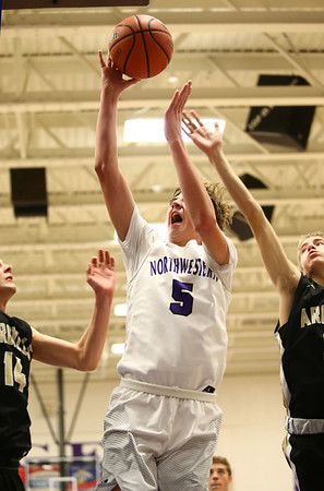 11-21-17<br /> Northwestern vs Madison Grant boys basketball<br /> Ben Harris goes up for a shot.<br /> Kelly Lafferty Gerber | Kokomo Tribune